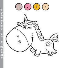 Vector Illustration Coloring By Numbers Educational Game With Cartoon Character For Kids