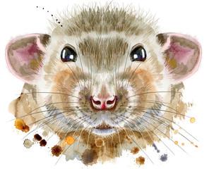 Fototapeta Zwierzęta Watercolor portrait of rat with splashes
