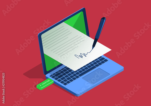 Isometric illustration on the theme of digital signature with laptop Canvas Print