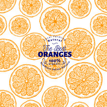Orange Seamless Pattern. Hand Drawn Vector Fruit Background. Engraved Style. Vintage Citrus Illustration.