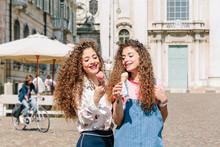Fashion Blogger Twins Eating Ice Cream, Mantova, Lombardia, Italy