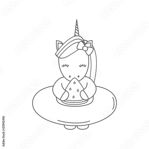 Cute Cartoon Black And White Unicorn With Float Eating Watermelon Slice Summer Vector Illustration Stock Vector Adobe Stock