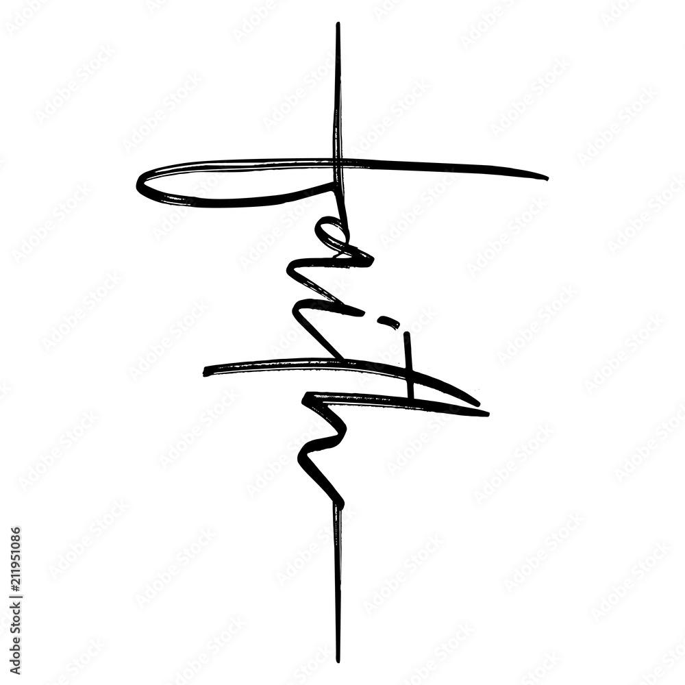 Wiara - ręcznie napisany wektor kaligrafia napis tekst w kształcie krzyża. Cytat chrześcijaństwa za projekt. Plakat typograficzny. Tatuaż.