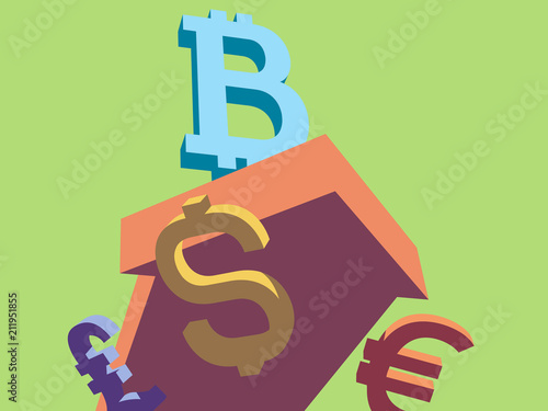 Ilration Bitcoin Goes Up While American Dollar Euro Pound Sterling Go Down Currency
