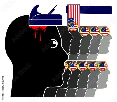 Blind patriotism in America Wallpaper Mural