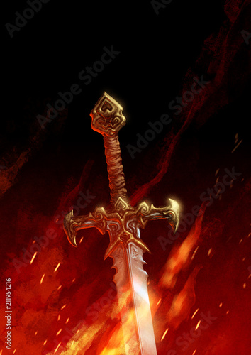 A sword engulfed by flames and darkness Canvas