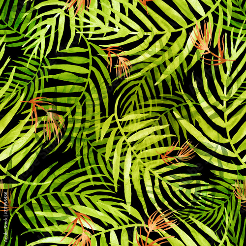 Spoed Fotobehang Tropische Bladeren Seamless watercolor pattern, background. Palm leaf background, postcard. Green,red tropical palm leaf. Illustration for design wedding invitations, greeting cards, postcards.