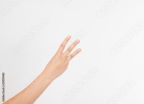 hand two palm up  handbreadth isolated on a white background