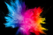 canvas print picture - Multi color powder explosion isolated on black background.