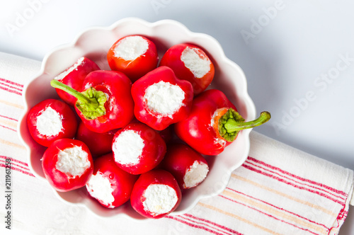 Fototapeta Red peppers stuffed with cheese obraz