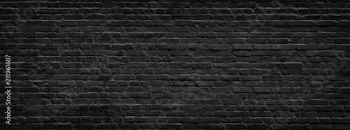 Foto op Plexiglas Historisch geb. Black brick wall panorama.