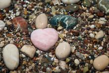 Pink Quartz Heart Among Sea Pe...