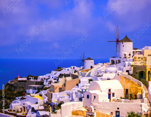 Poster Light pink View to the sea from Oia village of Santorini island in Greece