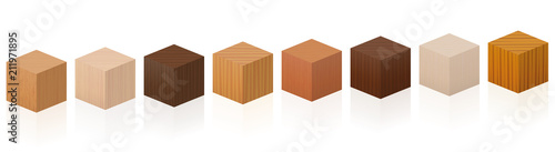 Fototapeta Wooden cubes - sample set with different colors, glazes, textures from various trees to choose - brown, dark, gray, light, red, yellow, orange decor models - vector on white background