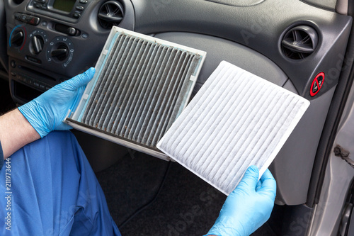 Fotomural Clean and dirty cabin pollen air filter for a car