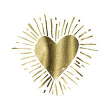 Hand Drawn Gold Grunge Love Heart