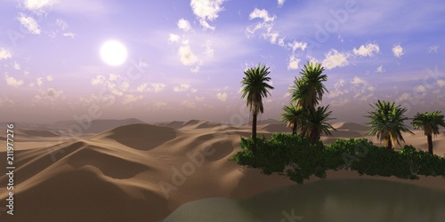 Printed kitchen splashbacks Purple oasis in the desert of sand. Lake with palm trees in the sands. 3D rendering