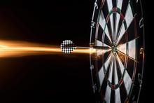 Darts. Dartboard. Dart In Bullseye