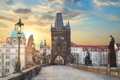 View of Charles Bridge in Prague during sunset, Czech Republic. The world famous Prague landmark.