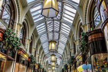 View Of The Ceiling Of The Hall Of A Beautiful Vintage Shopping Center In England, UK