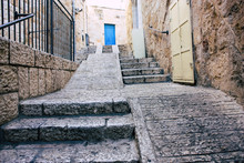 View Of The Street Of The Old City Of Jerusalem From The Ground Level In The Afternoon