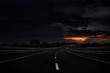 Night Road on beautiful landscape