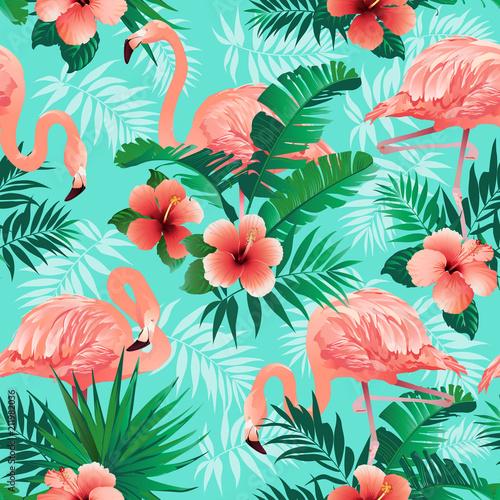 Różowe flamingi, egzotyczne ptaki, liście tropikalnej palmy, drzewa, dżungla pozostawia bez szwu wektor kwiatowy wzór tła.