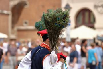 Mężczyzna w tradycyjnym stroju krakowskim niesie naręcze pawich piór sprzedawanych jako souvenir z krakowa, w tle rozmyty tłum turystów, budynki miasta