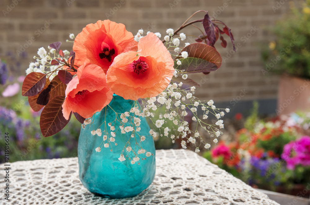 Flowers outdoor table decor