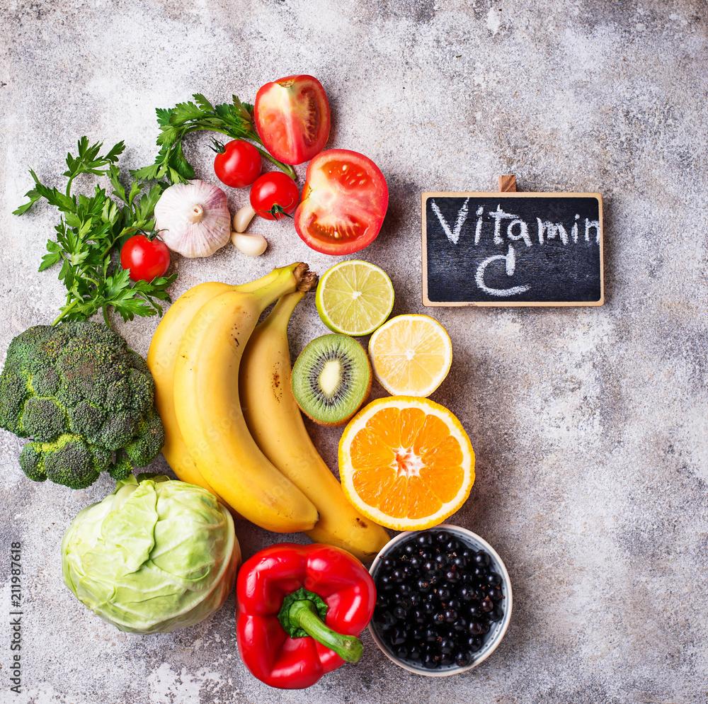 Fototapeta Food containing vitamin C. Healthy eating