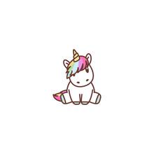 Cute Unicorn Sitting, Vector I...