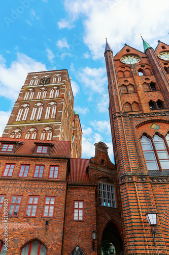 Fotobehang Europese Plekken St Nicolas Church and historic city hall in Stralsund, Germany