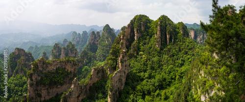 Fotografie, Tablou  Beautiful panorama of karst mountains in Zhiangjiajie National Park, China