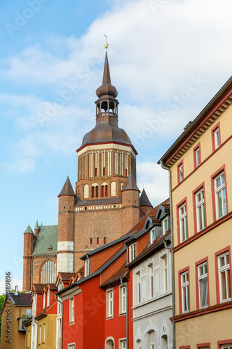 Fotobehang Europese Plekken cityscape with church in the UNESCO protected old town of Stralsund