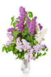 Bouquet of white and lilac and purple lilacs in a crystal vase on a white background.