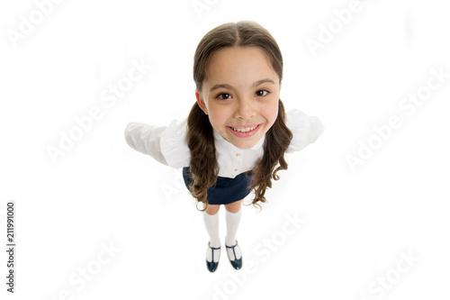 Fényképezés  Happy schoolgirl with long hair isolated on white