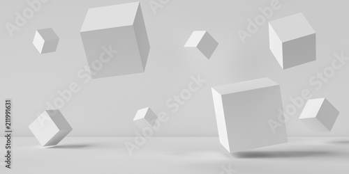 Fotografia  Suspended cubes on a white background. 3D image rendering.