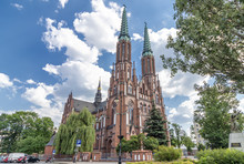 Facade Of Cathedral Of St. Michael The Archangel And St. Florian The Martyr In Warsaw, Poland