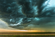 Storm Over Field In Oklahoma