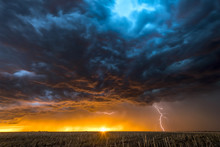 Lightning Storm Over Field In ...