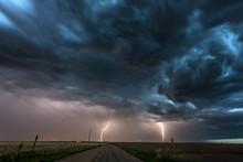 Lightning Storm Over Field In ...