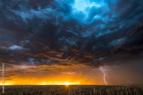 Fotografie, Obraz Lightning storm over field in Roswell New Mexico