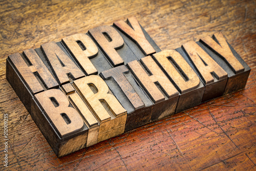 Photo  Happy Birthday greetings in letterpress wood type