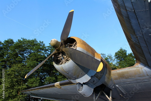 Rotary engine of Douglas Dakota DC-3 C-47 WWII plane exhibit situated in local f Canvas Print