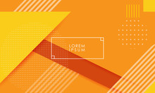 Orange And Yellow Colored Geometric Vector Background With Thin Frame And Abstract Dots And Lines