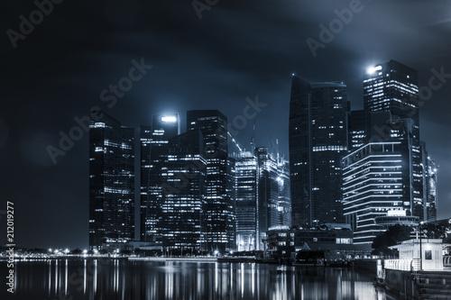 Foto op Canvas Brooklyn Bridge dark night navy blue cityscape building