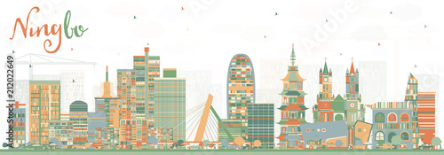Ningbo China City Skyline with Color Buildings.