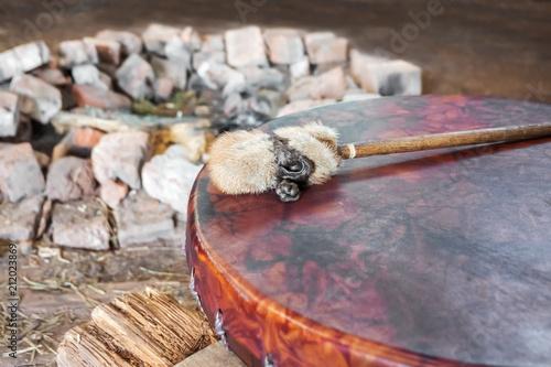 Photo Ancient amerindian tambourine and drum drumstick replica