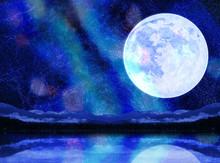 幻想的な月と天の川と...