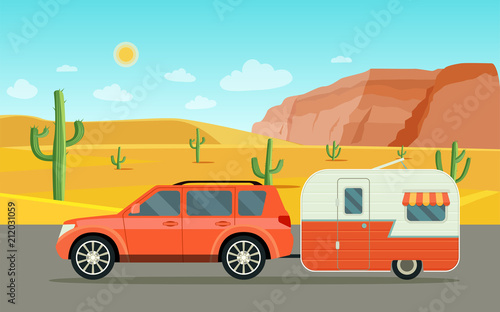 Foto op Plexiglas Turkoois Suv car and camper trailers caravan. Desert landscape. Vector flat style illustration